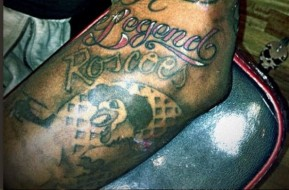 NBA Player Brandon Jennings Tats 'Roscoe's Chicken & Waffles' Logo On Arm